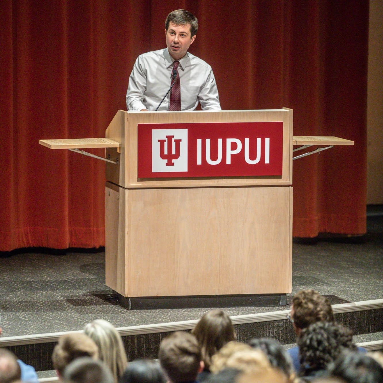 """Presidential candidate and South Bend Mayor Pete Buttigieg brings his """"Shortest Way Home"""" book tour to Hine Hall on the IUPUI campus on Sunday, Feb. 24, 2019."""