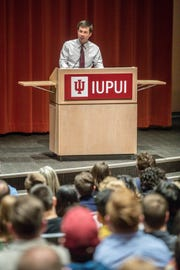 "Presidential candidate and South Bend Mayor Pete Buttigieg brings his ""Shortest Way Home"" book tour to Hine Hall on the IUPUI campus on Sunday, Feb. 24, 2019."