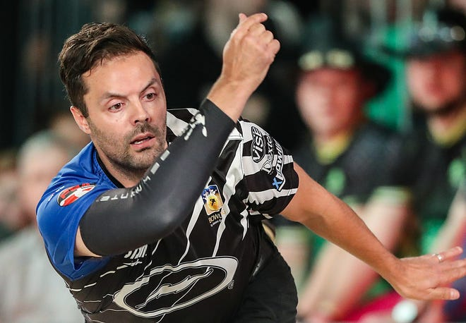 Jason Belmonte competes against Norm Duke in the Go Bowling! PBA Indianapolis Open finals at Woodland Bowl on Sunday, Feb. 24, 2019. Norm Duke defeated Jason Belmonte to earn his 39th career title, 237-219.