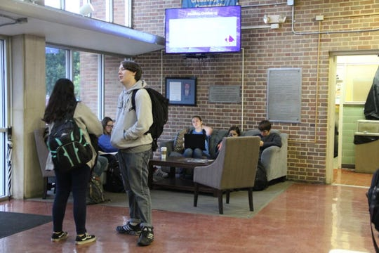 Students at the Mississippi School for Mathematics and Science in Columbus, Miss., gather Oct. 17, 2018, in one of the school's common areas in between classes.