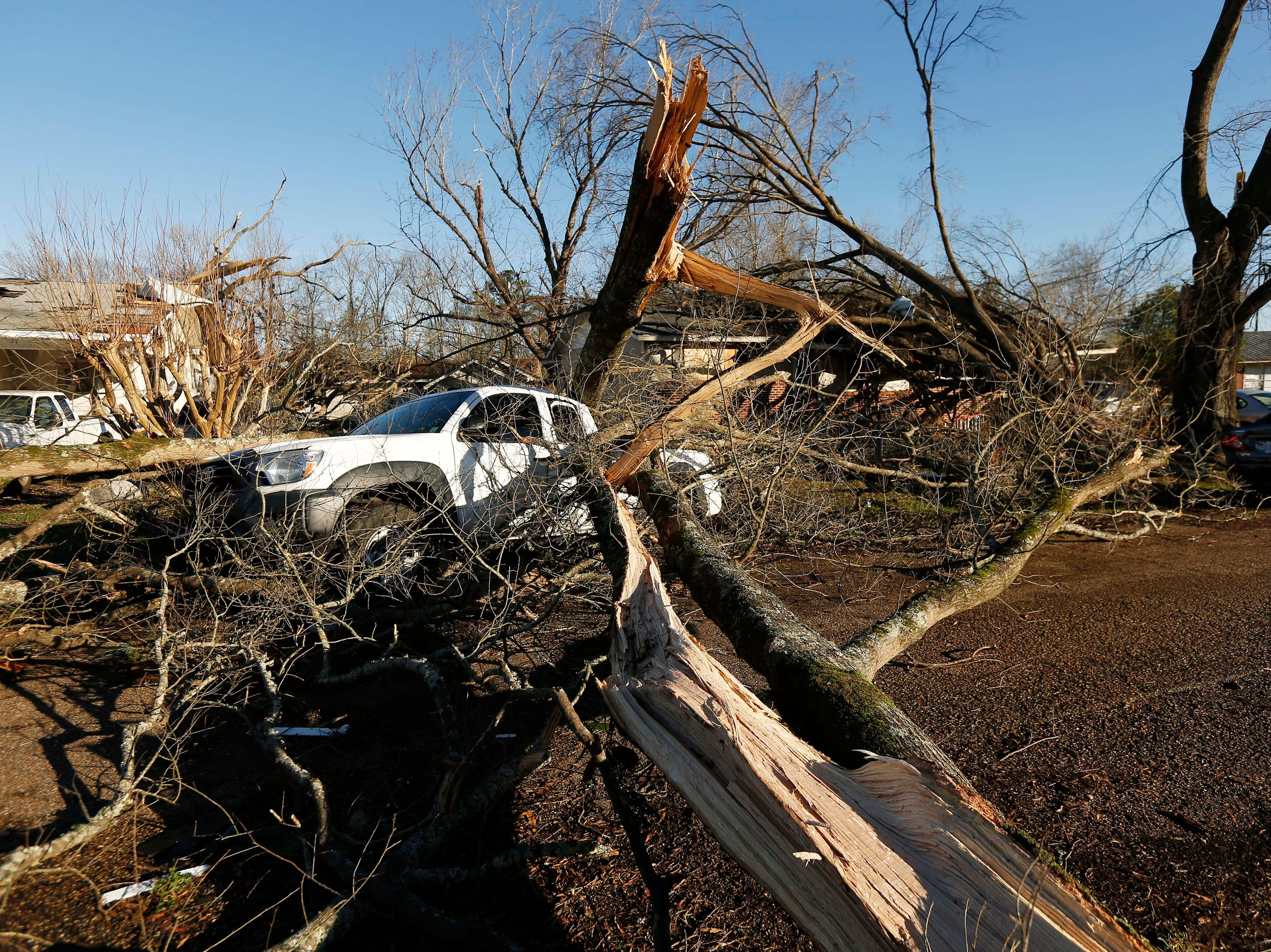 Tornado strewn debris and fallen trees in this Columbus, Miss., neighborhood, Sunday morning, Feb. 24, 2019. At least one person was killed among the shattered businesses and wrecked homes that dotted the South as severe storms followed a weekend of drenching rains and a rising flood threat. (AP Photo/Rogelio V. Solis)