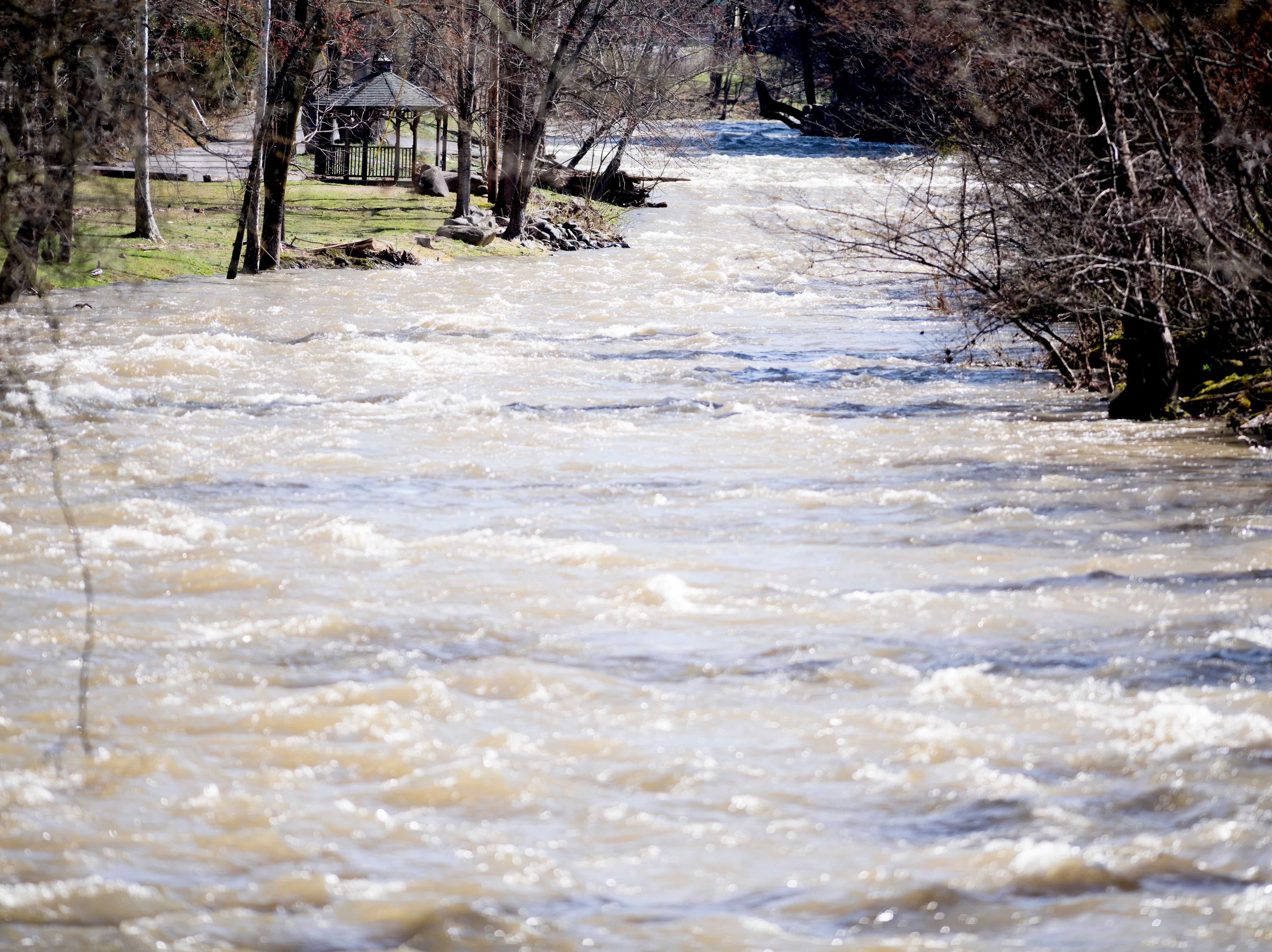 An overflowing West Prong Little Pigeon River in Pigeon Forge, Tennessee on Sunday, February 24, 2019.