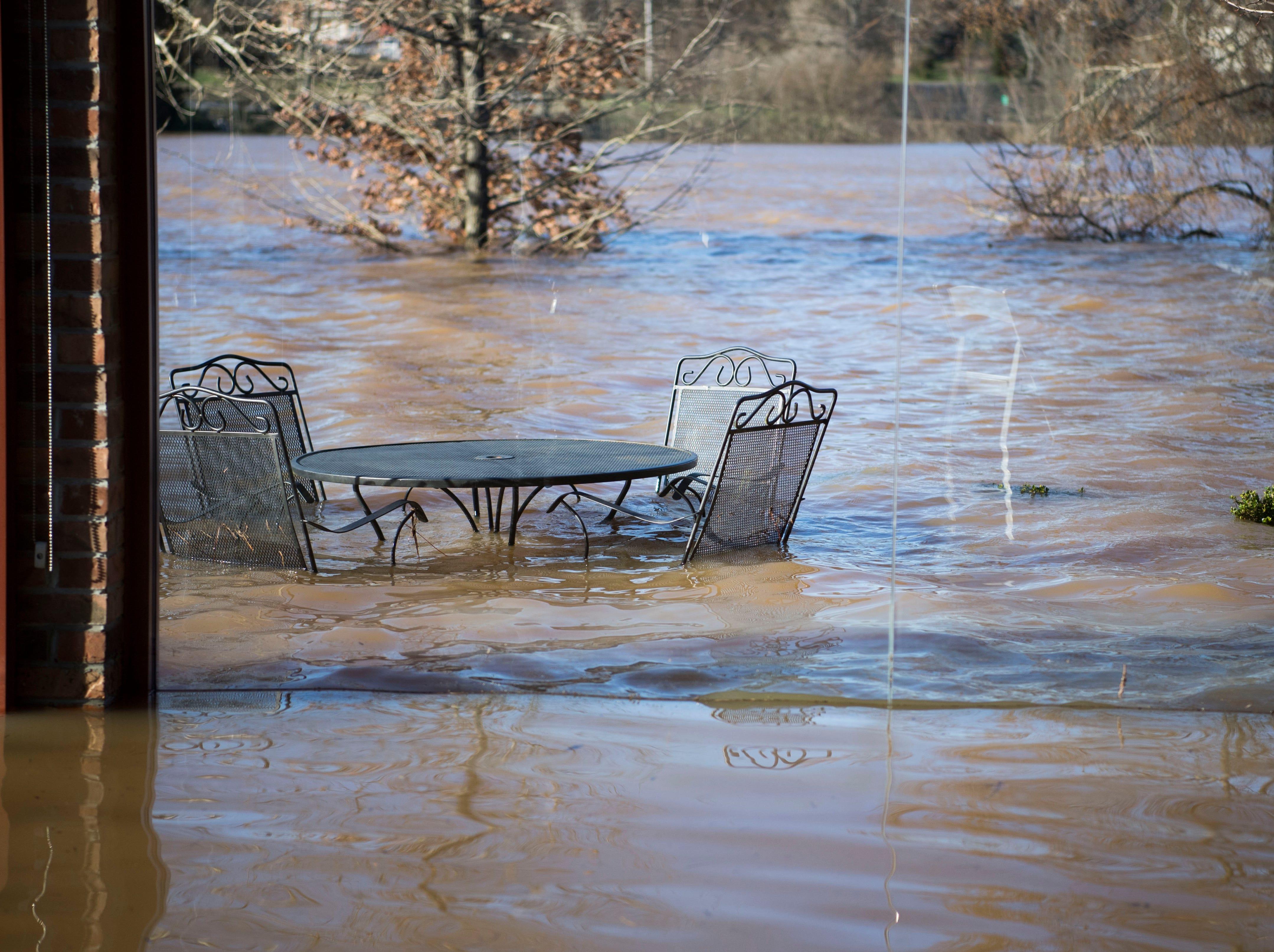 Flood damage is visible at Hunter Valley Farm's pavilion Sunday, Feb. 24, 2019.