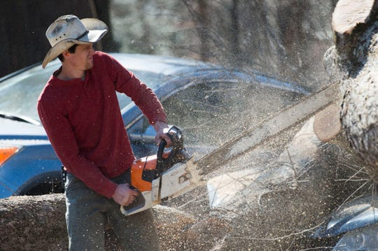 Jacob Price of Big Orange Tree takes a chainsaw to a tree which fell on cars during a church service at Fellowship Church Knoxville on Middlebrook Pike Sunday, Feb. 24, 2019. More than twenty cars were affected by the fallen tree.