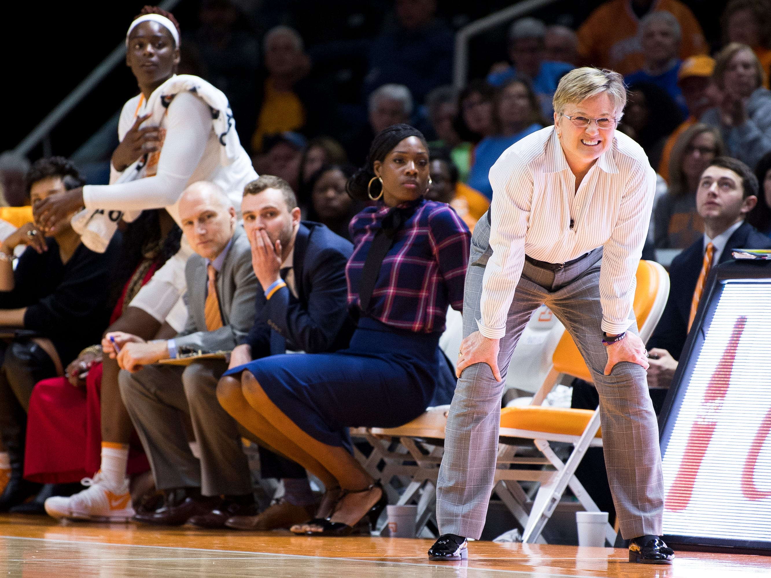 Tennessee Head Coach Holly Warlick, right, watches her team play on defense during the Lady Vols' home SEC game against South Carolina at Thompson-Boling Arena in Knoxville on Sunday, February 24, 2019.