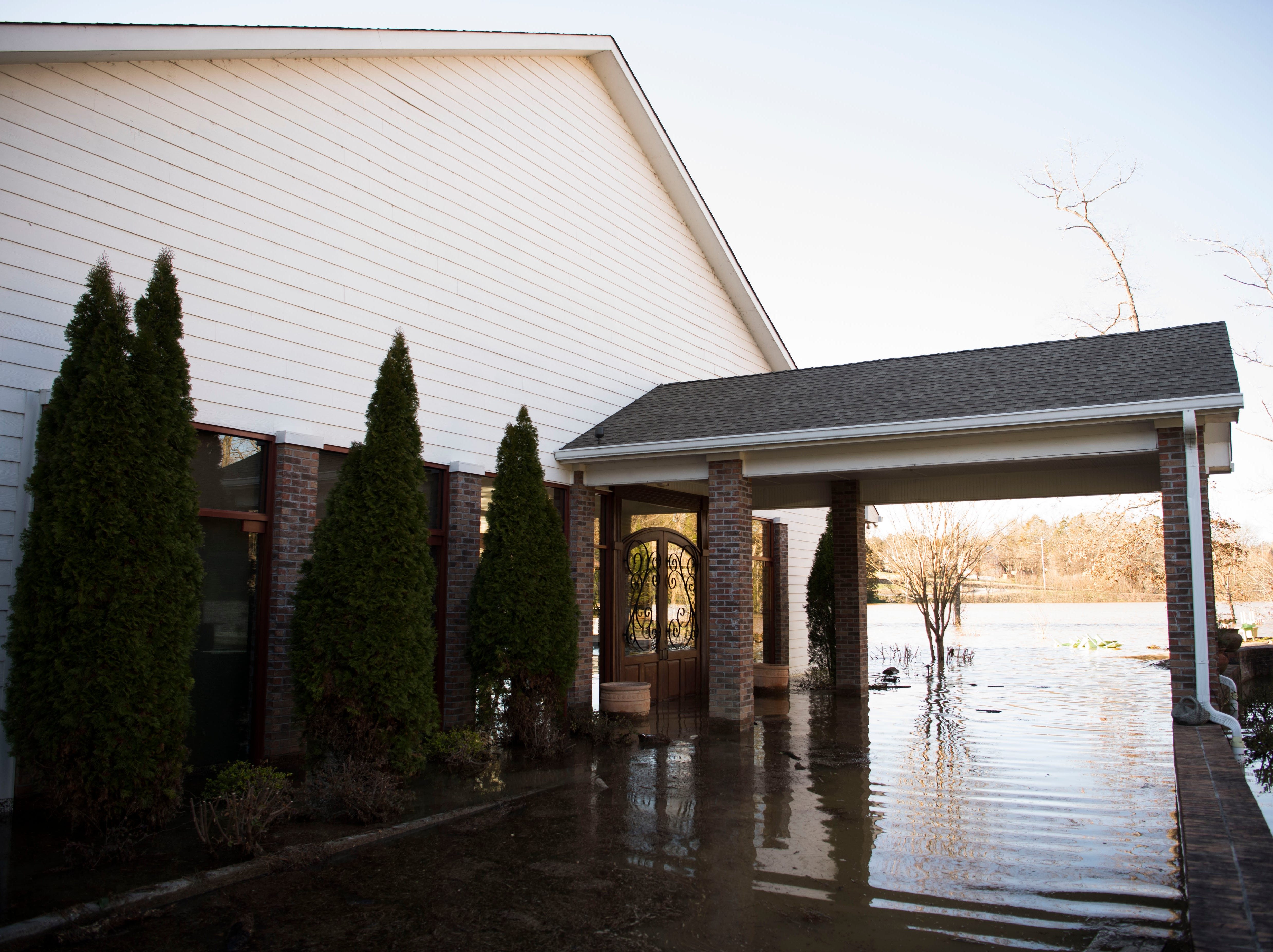 Flood damage is visible at Hunter Valley Farms pavilion Sunday, Feb. 24, 2019.