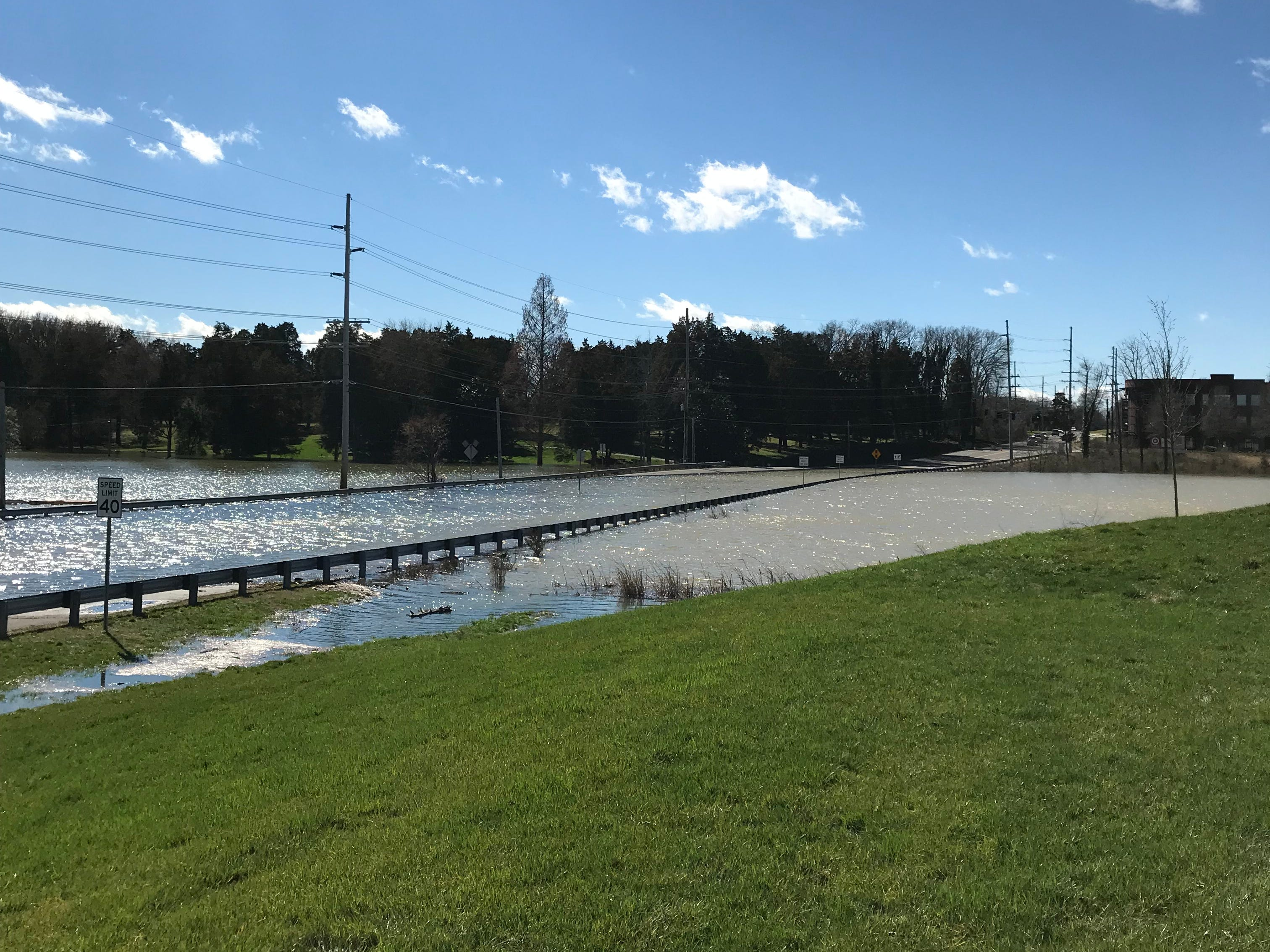 Flooding at S. Northshore Drive with at intersection of Thunderhead Road in Knoxville on Sunday, Feb. 23, 2019.