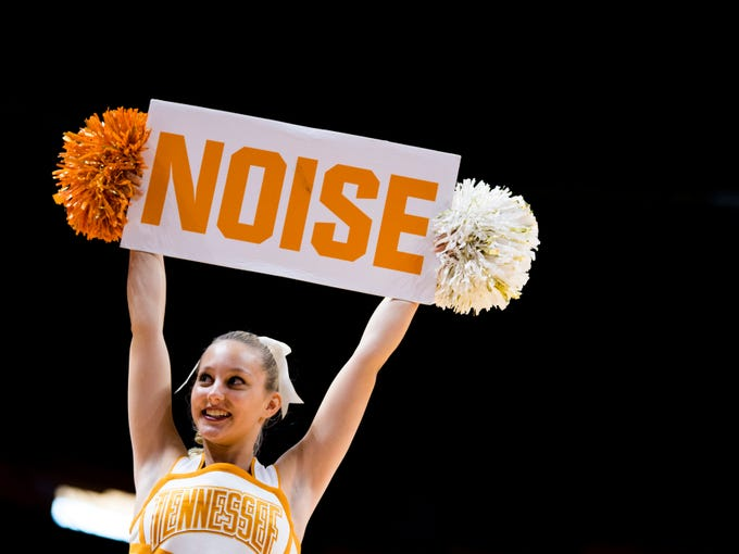 A Tennessee cheerleader during the Lady Vols' home SEC game against South Carolina at Thompson-Boling Arena in Knoxville on Sunday, February 24, 2019.