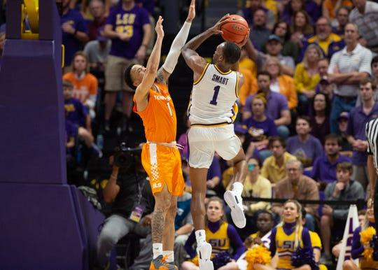 Javonte Smart takes a shot as the LSU Fighting Tigers take on the Tennessee Volunteers at the Pete Marovich Assembly Center. Saturday, Feb. 23, 2019.