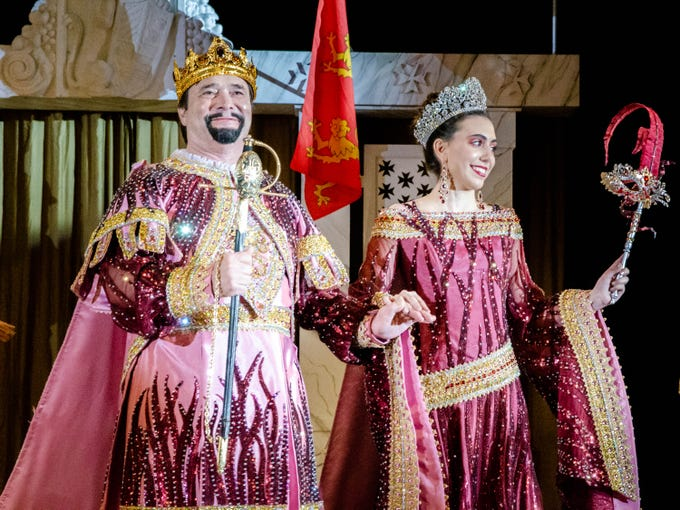 77th Annual Krew de Troubadours Mardi Gras Ball. Sir Kenneth of Hungtington and Lady Edith Plantagenet of Aquitaine present themselves to the crowd.