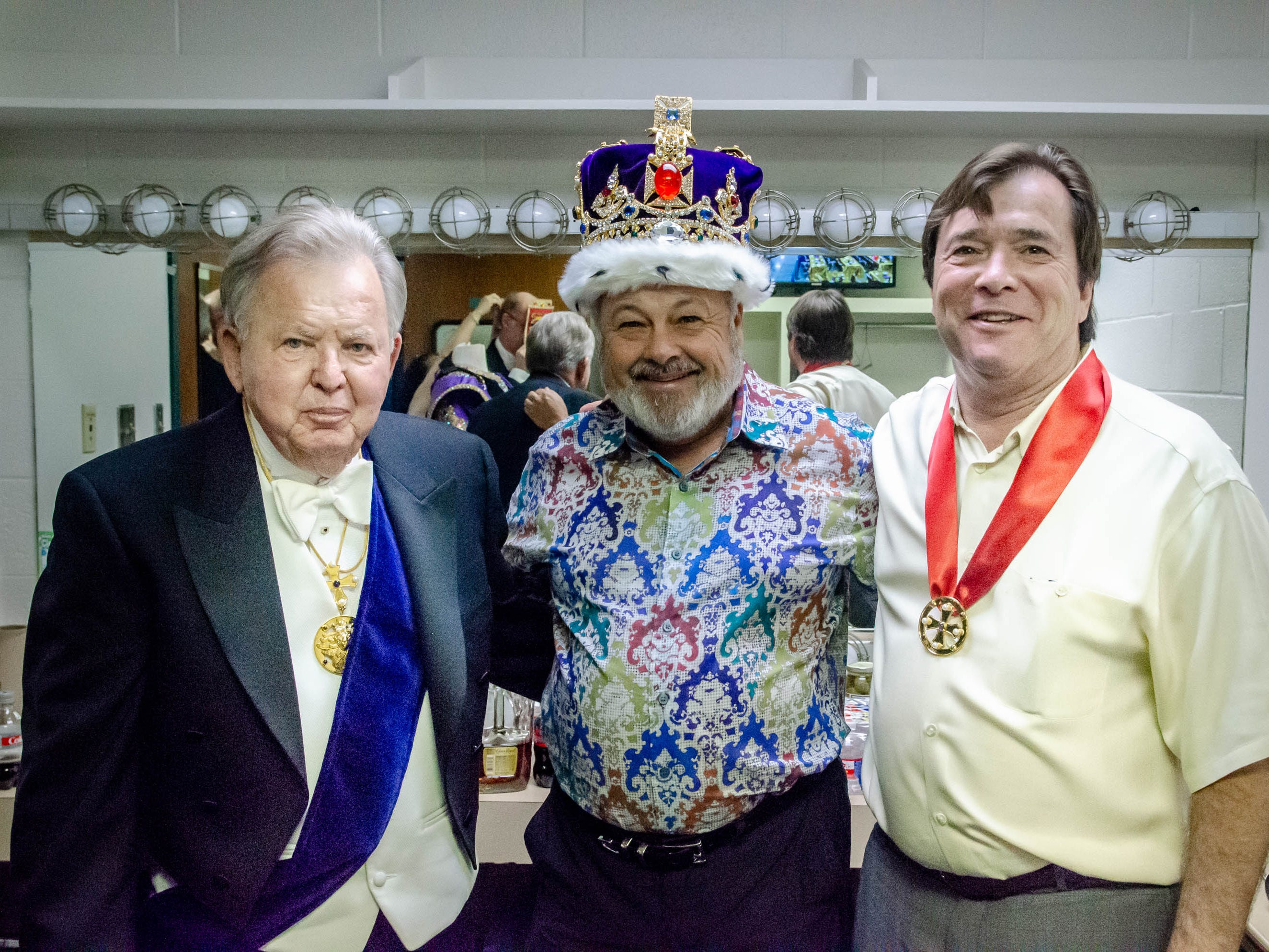 77th Annual Krew de Troubadours Mardi Gras Ball. King Richard Coeur de Lion and Sir Kenneth of Huntington preparing for the night.