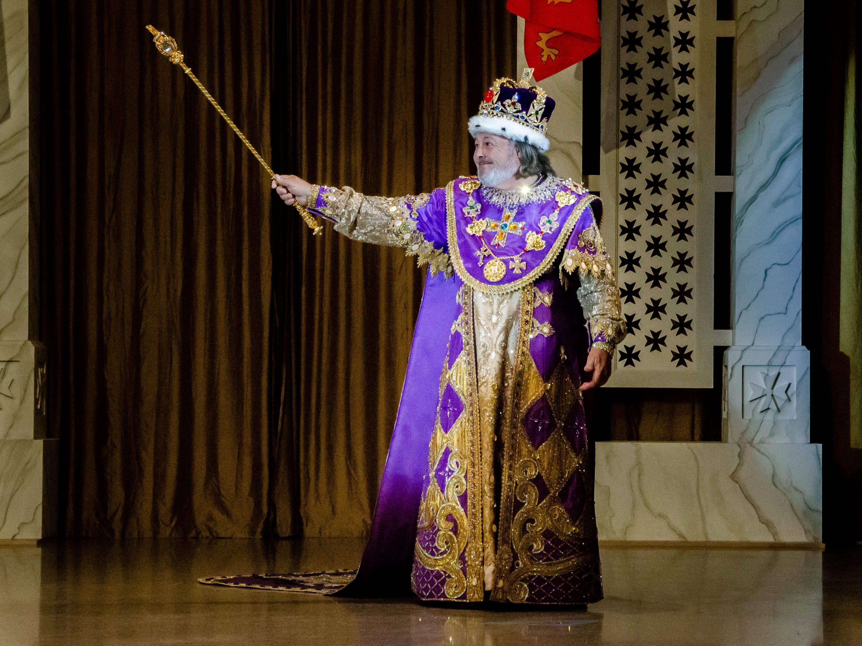 77th Annual Krew de Troubadours Mardi Gras Ball. King Richard Coeur de Lion makes his first apperance of the night.