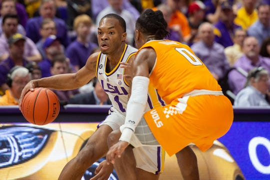 Javonte Smart drives the ball as the LSU Fighting Tigers take on the Tennessee Volunteers at the Pete Marovich Assembly Center. Saturday, Feb. 23, 2019.