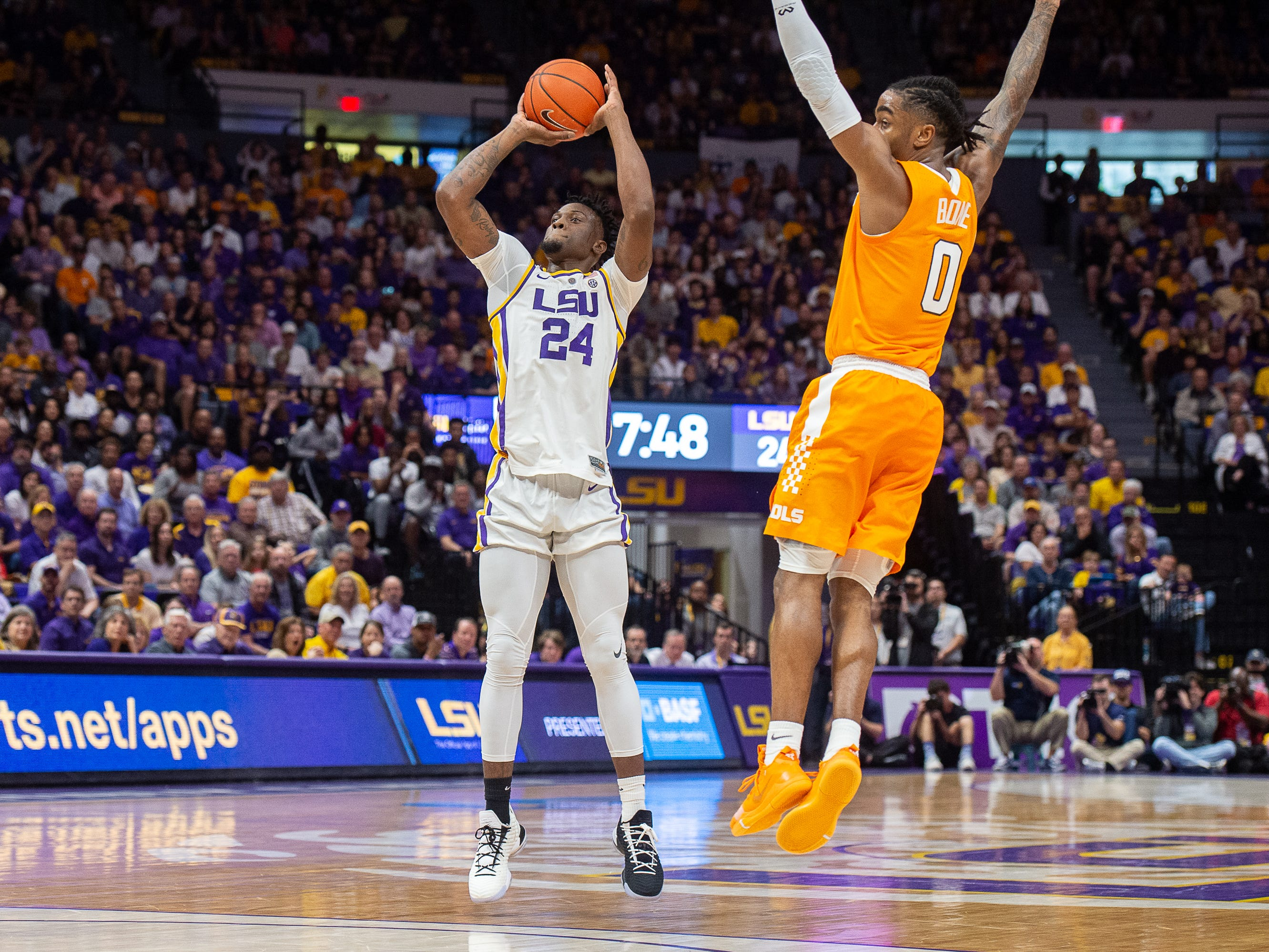 Emmitt Williams takes a shot as the LSU Fighting Tigers take on the Tennessee Volunteers at the Pete Marovich Assembly Center. Saturday, Feb. 23, 2019.