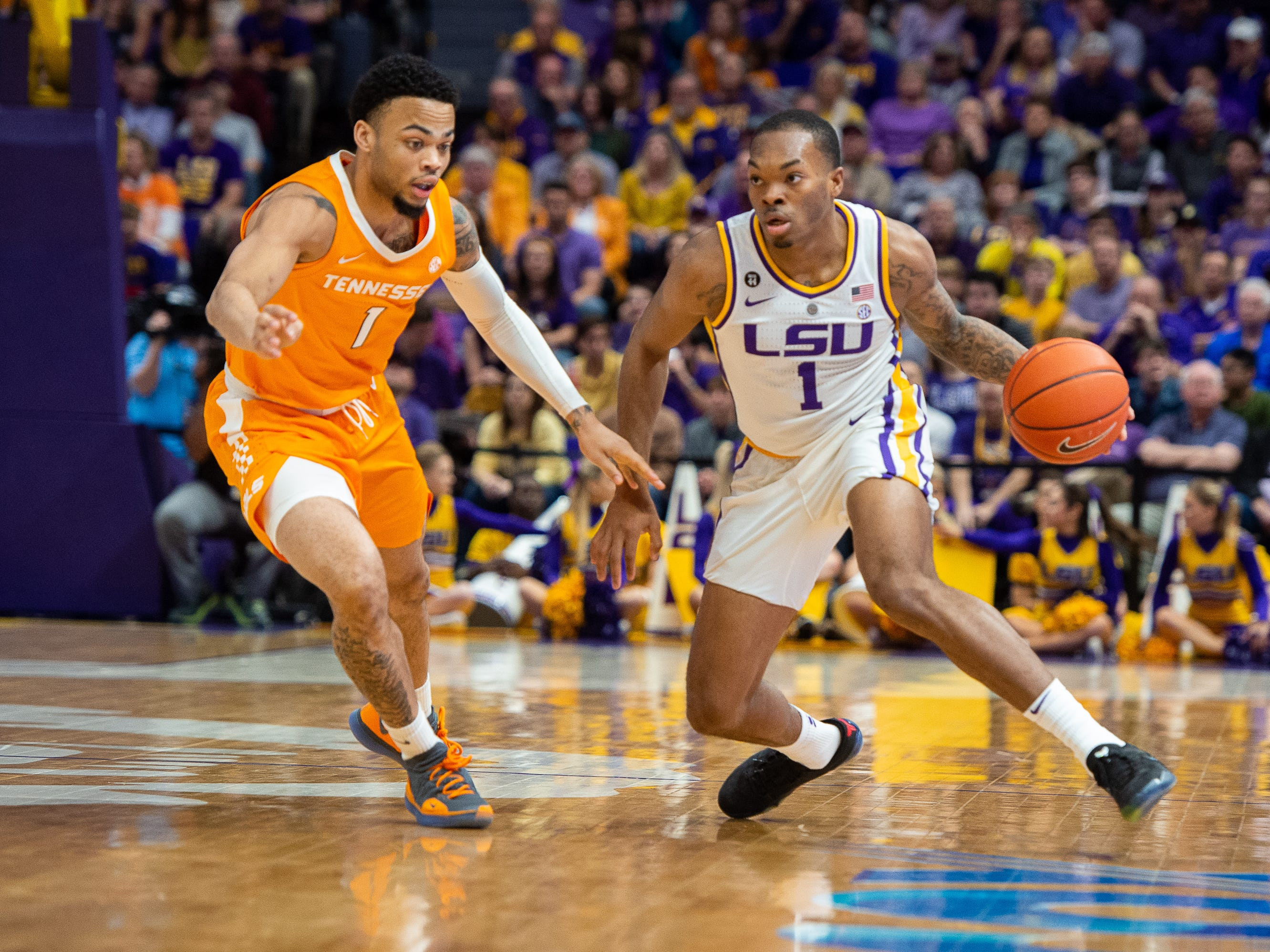Javonte Smart drives to the basket as the LSU Fighting Tigers take on the Tennessee Volunteers at the Pete Marovich Assembly Center. Saturday, Feb. 23, 2019.