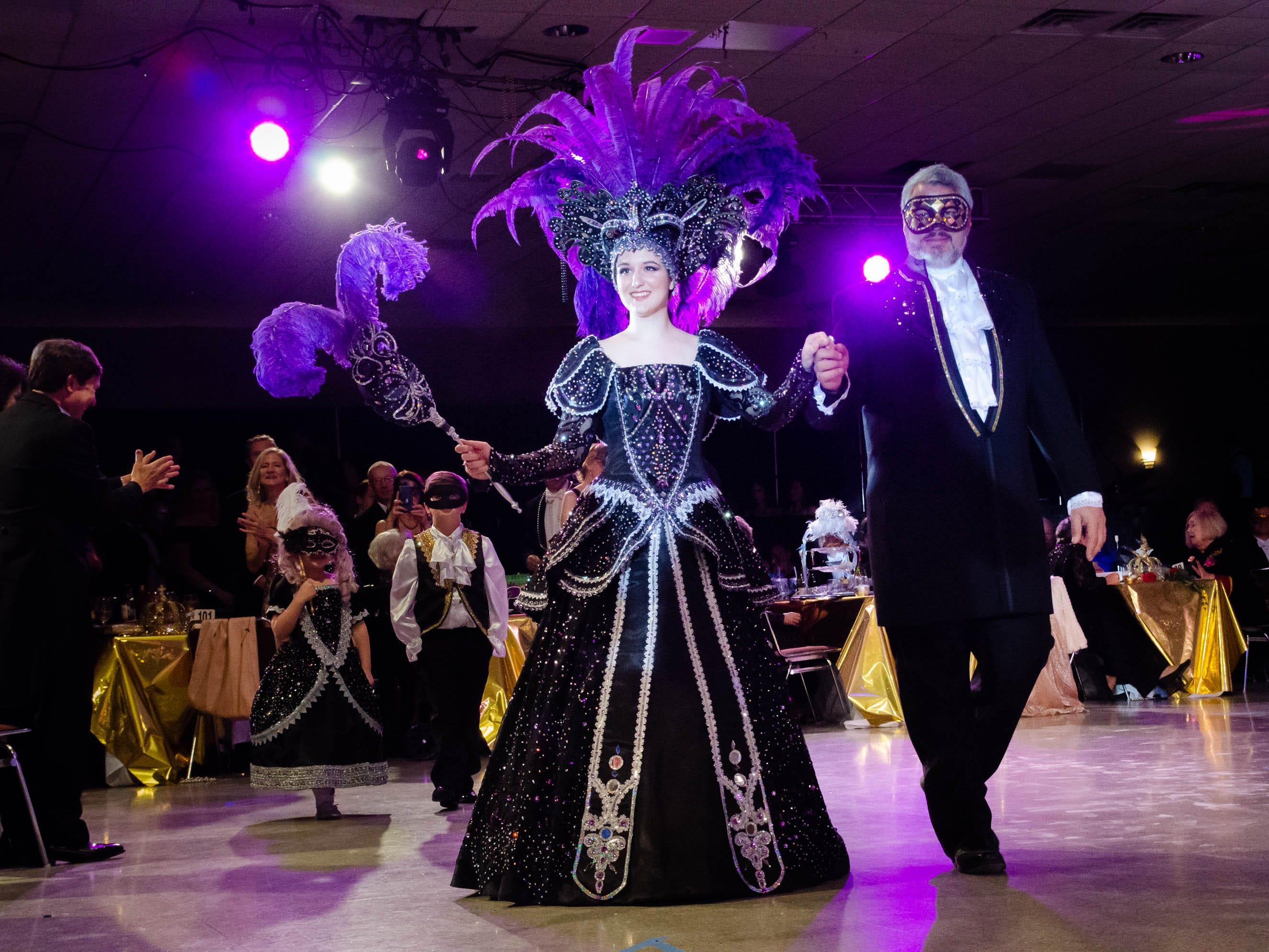 77th Annual Krew de Troubadours Mardi Gras Ball. Natalie Rose of the House of Piccione (Black Swan) along side Royal Duke James Kirk Piccione.