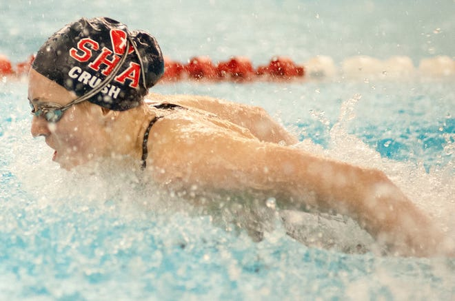 Sacred Heart's Annabel Crush swims to victory in the girls 200 yd individual medley of the KHSAA state girls swimming and diving championships with a 1st place time of 1:59.23.23 February 2019