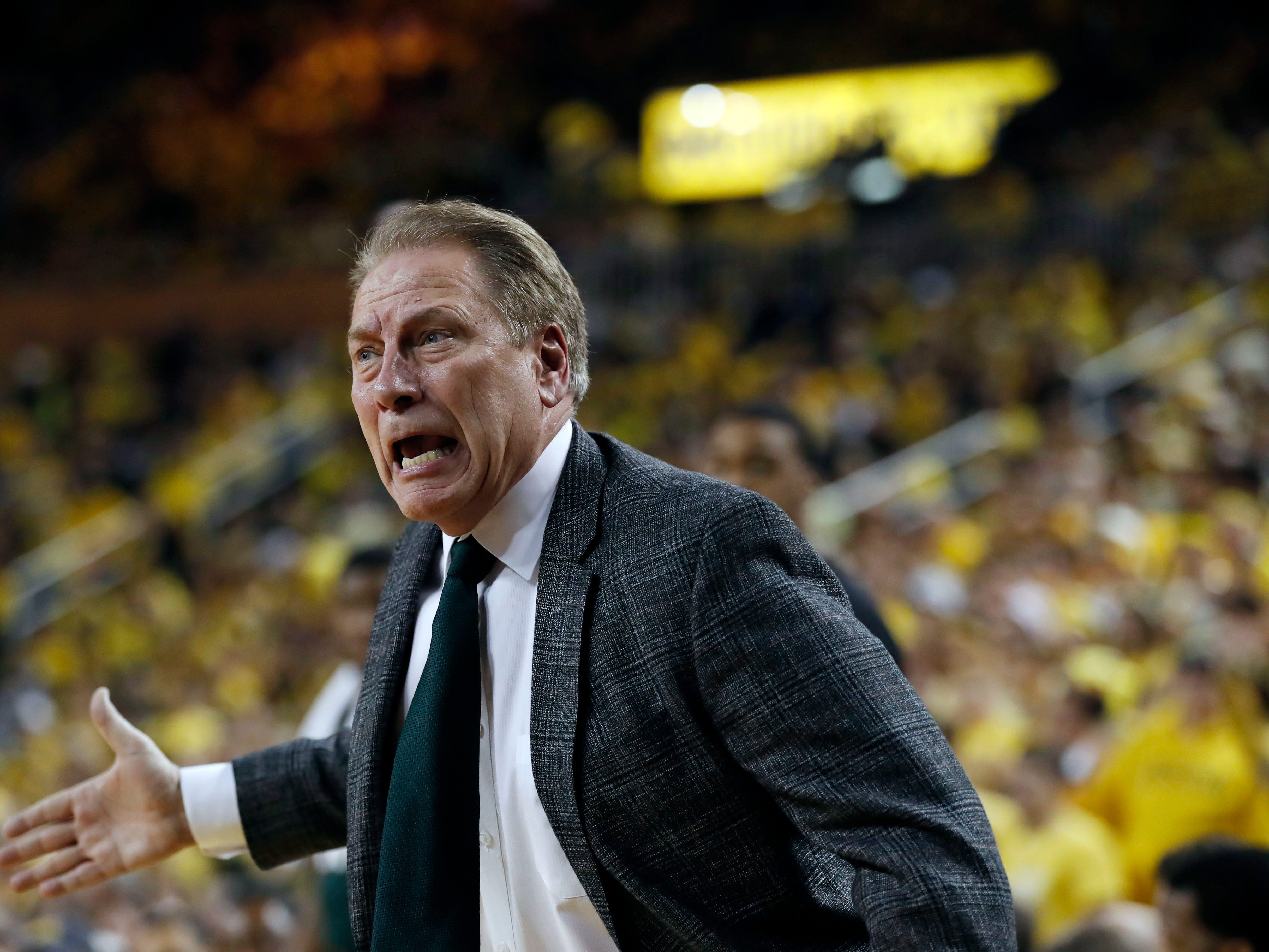 Michigan State head coach Tom Izzo reacts during the first half of an NCAA college basketball game against Michigan, Sunday, Feb. 24, 2019, in Ann Arbor, Mich.