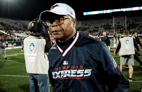 Memphis Express coach Mike Singletary walksoff of the field after their game against the Orlando Apollos at Spectrum Stadium in Orlando, FL on Saturday, February 23, 2019. Orlando won the game 21-17.