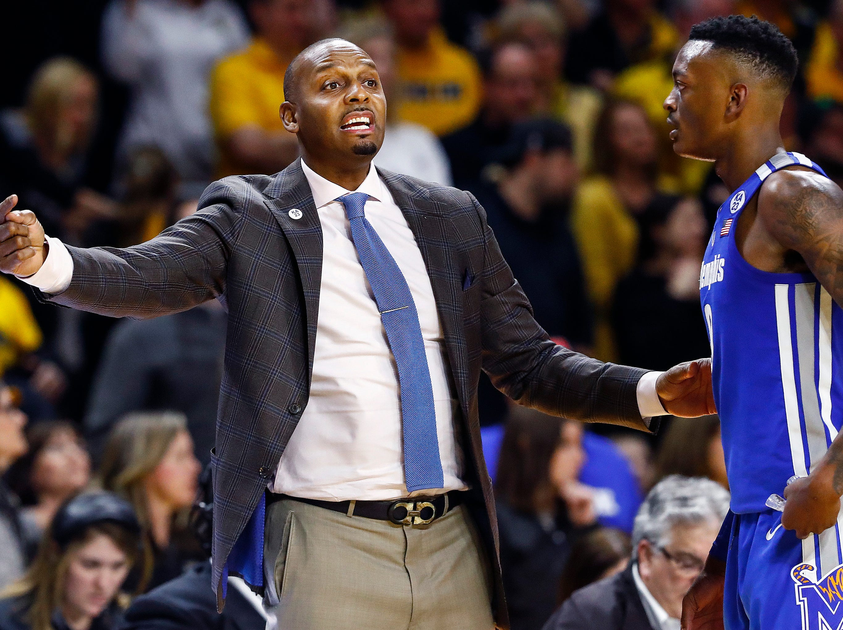 Memphis head coach Penny Hardaway (left) during action against Wichita State in Wichita, Kansas, Saturday, February 23, 2019.