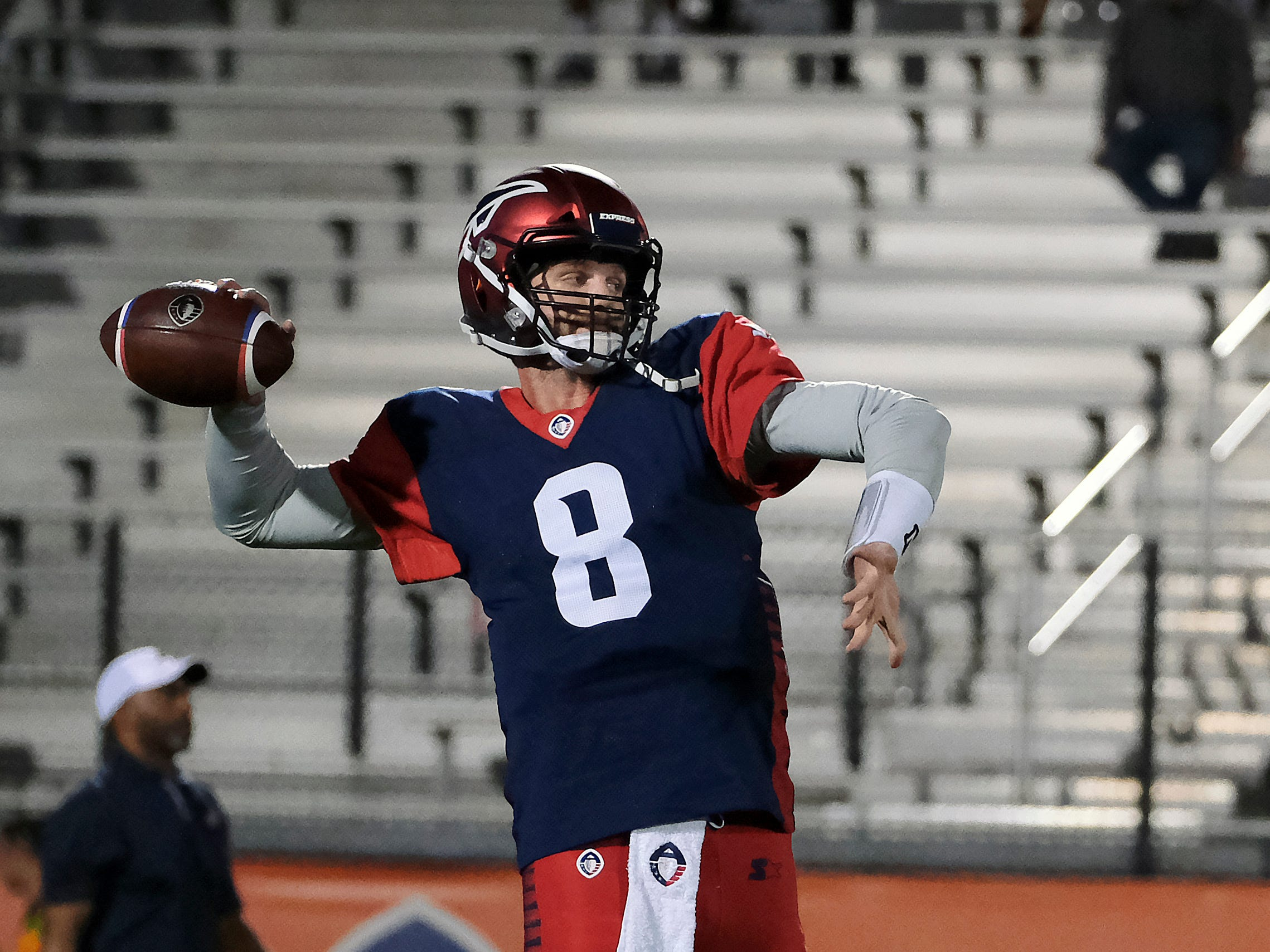 Memphis Express QB Zach Mettenberger warms up prior to their game against the Orlando Apollos at Spectrum Stadium in Orlando, FL on Saturday, February 23, 2019.
