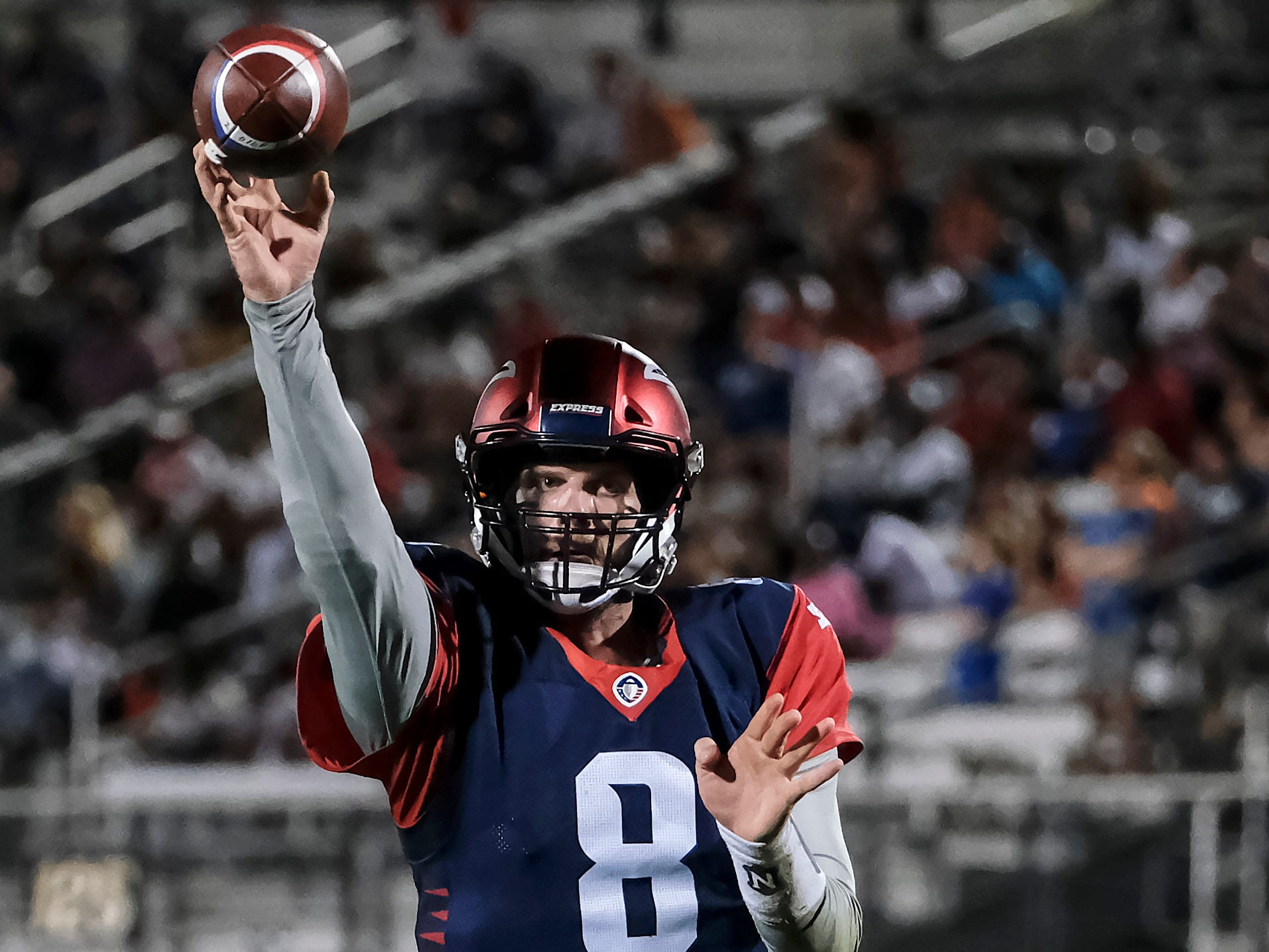 Zach Mettenberger from the Memphis Express launches a pass during their game against the Orlando Apollos at Spectrum Stadium in Orlando, FL on Saturday, February 23, 2019. Orlando won the game 21-17.