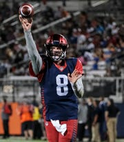 Express quarterback Zach Mettenberger was 9-of-12 with two touchdowns Saturday against the Apollos at Spectrum Stadium in Orlando.