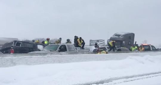 Dozens of vehicles pile up in crash on I-41 Sunday.