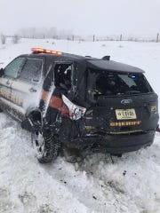 This Sheboygan County Sheriff's Office SUV was struck on I-43 near County Road FF Sunday. The deputy was not injured.