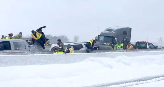 Dozens of vehicles pile up in crash on I-41 in Neenah Sunday. I-41 was shut down from Breezewood Lane in Neenah to Highway 76 in Oshkosh in both directions. And I-41 southbound closed at Highway 10 with traffic rerouted to Highway 76. (Photo Courtesy of Dwight Nale)