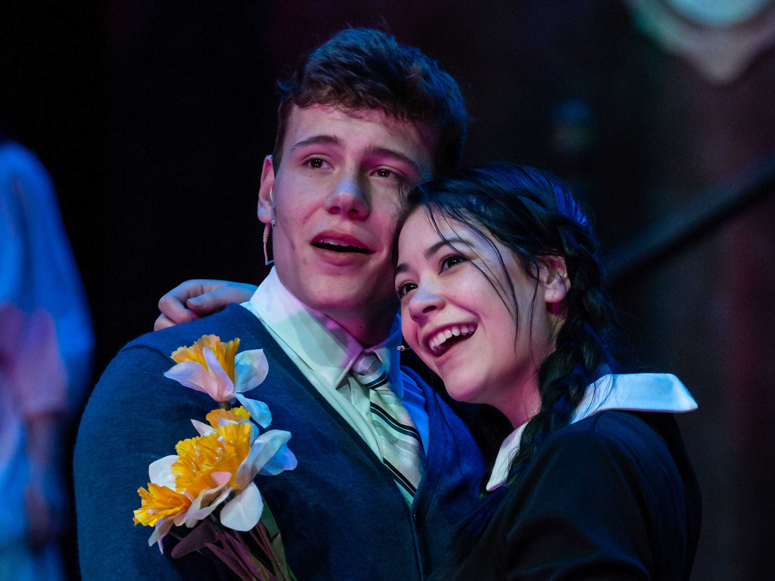 Mukwonago High School drama students Niko Dulin and Cecilia Fleischer perform a scene from the Addams Family Musical during dress rehearsal on Thursday, Feb. 21, 2019. Public performances will be Feb. 22, 23, 24 and March 1 and 2. Visit mukwonago.revtrak.net for times and tickets.