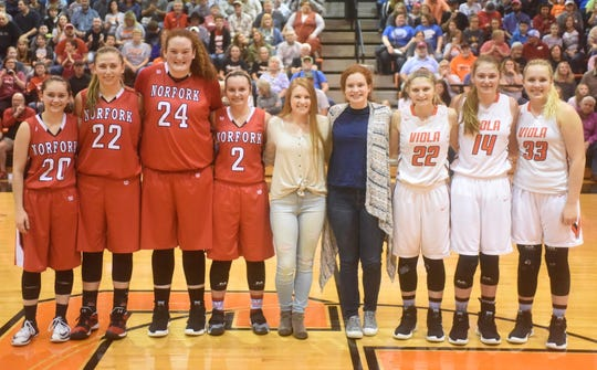 The members of the 2019 1A Region 2 all-tournament team are: (from left) Norfork's Eva Maple, Kynzie Rangel, Hannah Bryant and Whitlee Layne, Hillcrest's Mickayla Smith, Izard County's Maura Thomason, and Viola's Keyaira Moore, Lindsey Browning and Madison Sellars. Not pictured are Mammoth Spring's Terra Godwin and Lauren Mitchell, Maynard's Sybell Howison and Bethany Dobbins, Calico Rock's Emma Mitchell, and Armorel's Ayrielle Appleton.