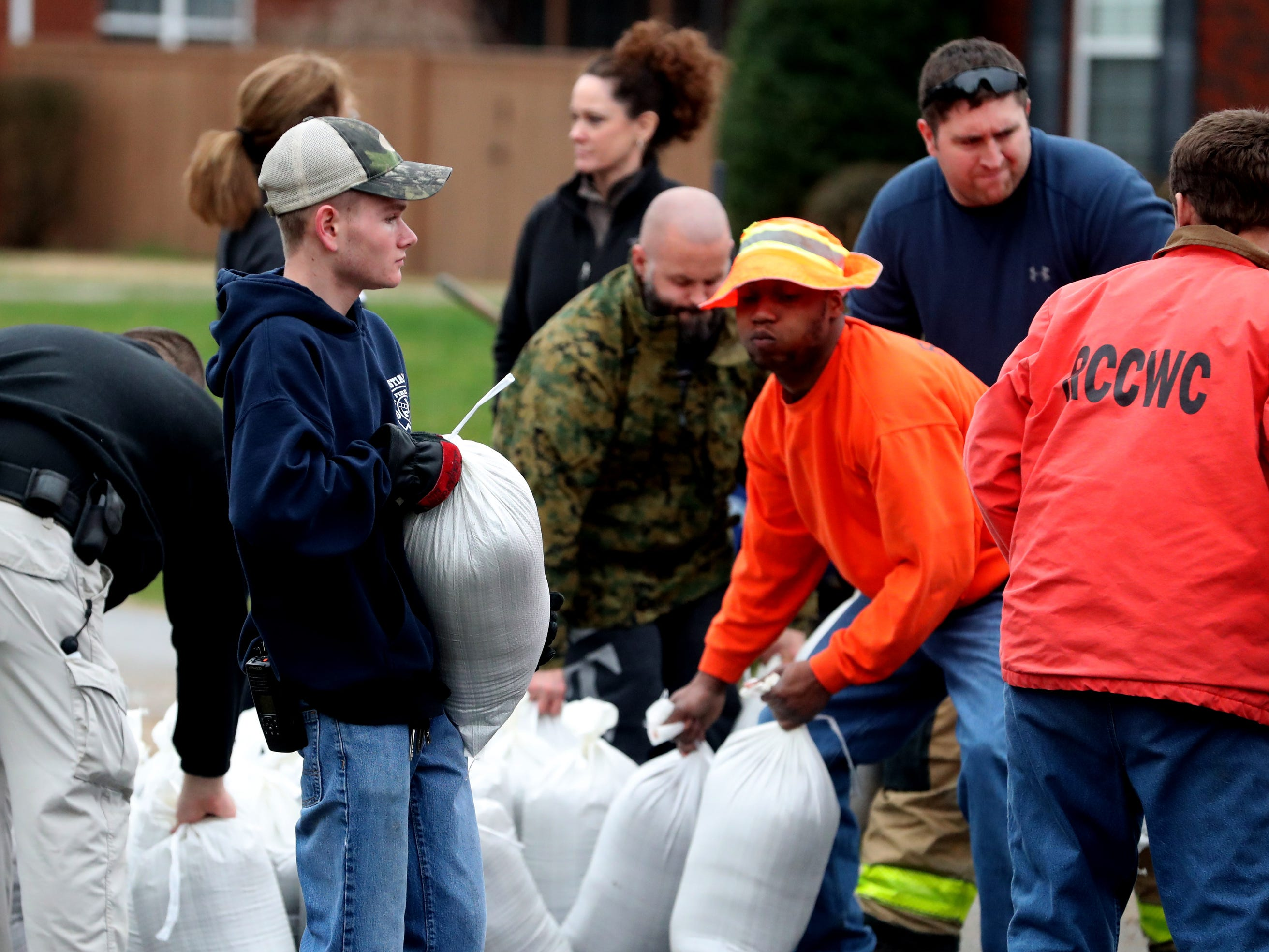 Sand bags are loaded on Steelson Way in Murfreesboro to help with the flooding efforts, on Saturday, Feb. 23, 2019.