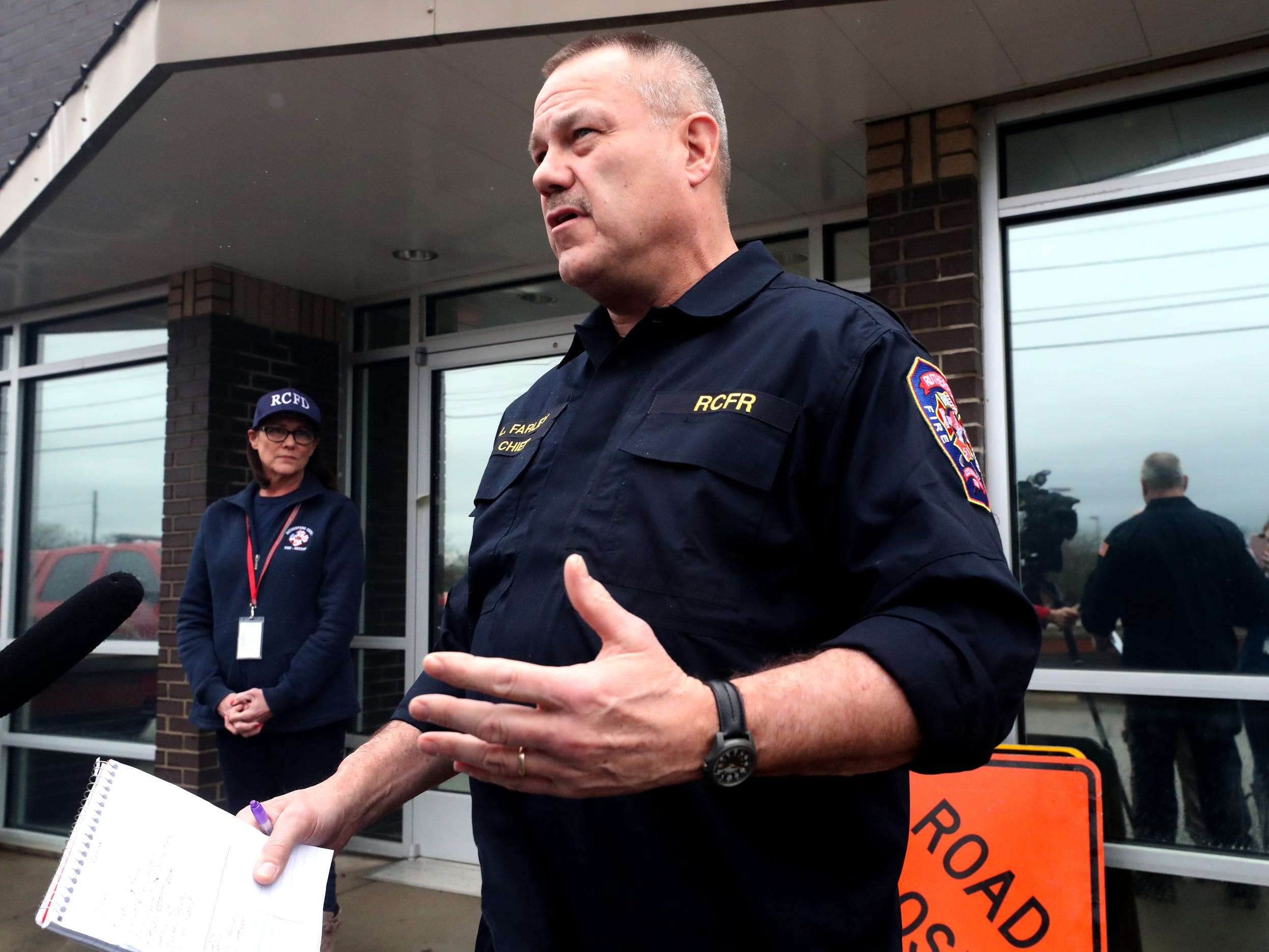 Rutherford County Fire Chief Larry Farley informs media of particular roads that are of concern for flooding during a press conference at a fire station in Murfreesboro.
