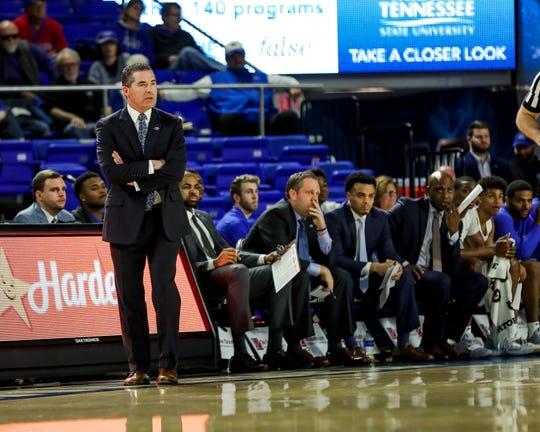 MTSU coach Nick McDevitt watches on during the Blue Raiders game against Charlotte on Feb. 23, 2019