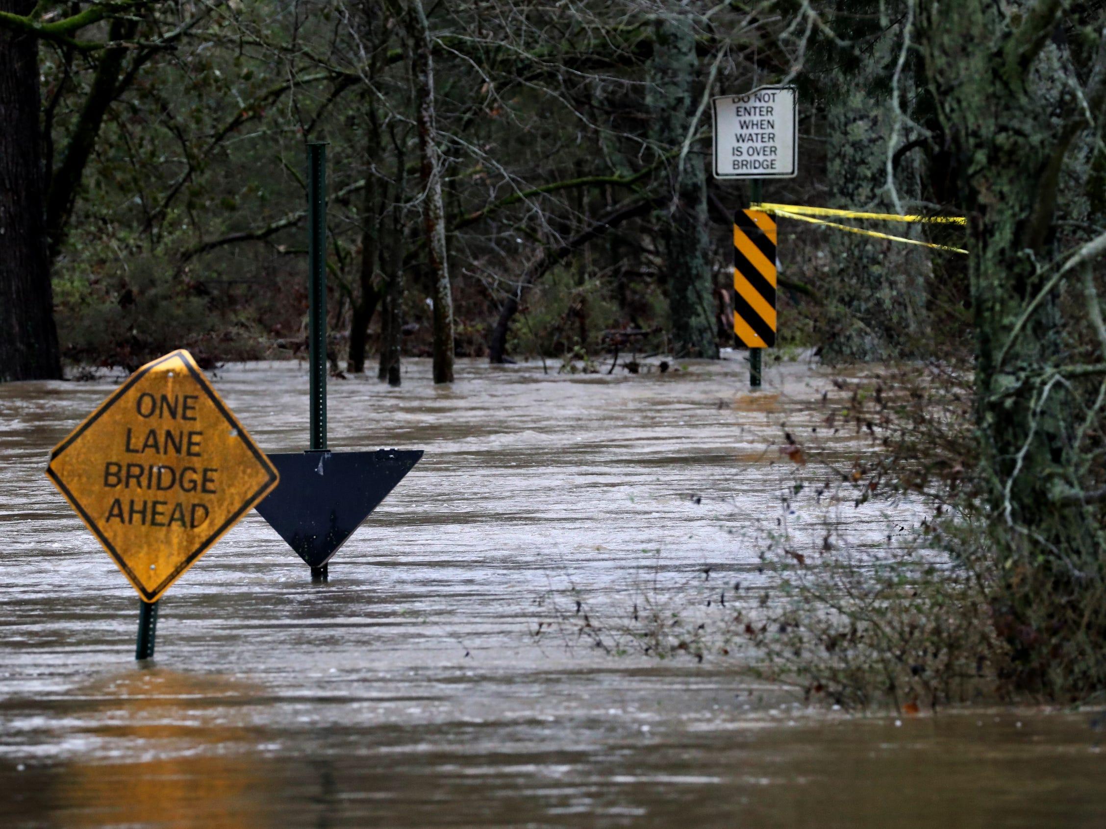 The Slab Bridge at County Farm Road is impassible in Murfreesboro on Saturday, Feb. 23, 2019.
