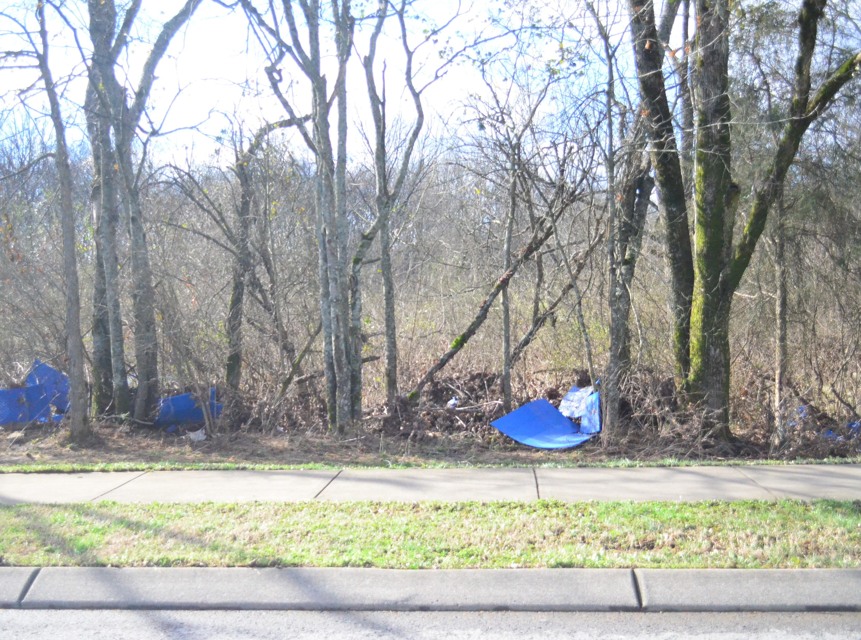 Pieces of the inline hockey rink at Veteran's Park in Hendersonville were scattered along Saundersville Road Sunday morning - quite a bit of distance from the park.