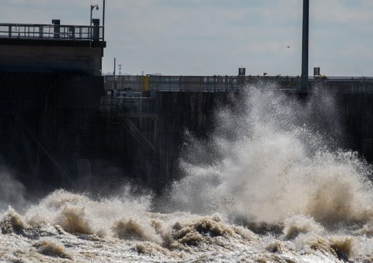 Water is released at the Old Hickory Dam in Hendersonville on Feb. 24, 2019.