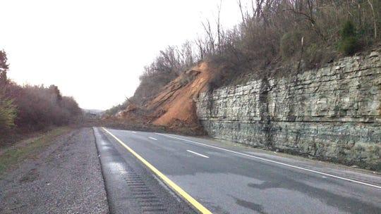 A mudslide Saturday shut down a portion of I-24 north of Nashville.