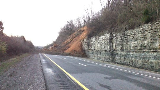 A mudslide Saturday shut down a portion of I-24 north of Nashville.