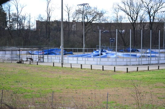 The inline hokey rink at Veteran's Park in Hendersonville was severely damaged from water and wind Saturday, Feb. 23.