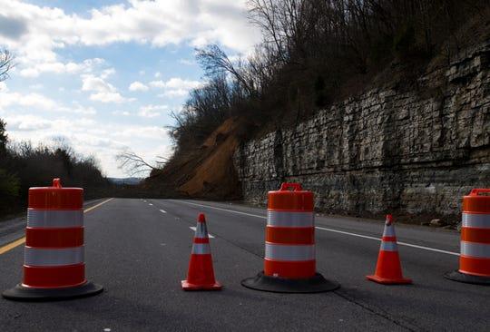 A landslide blocks the eastbound lanes of I-24 near Whites Creek on Sunday, Feb. 24, 2019.