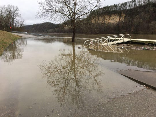 Heavy rains resulted in high water at a boat ramp in Riverbluff Park along the Cumberland River in Ashland City on Saturday, Feb. 23, 2019.
