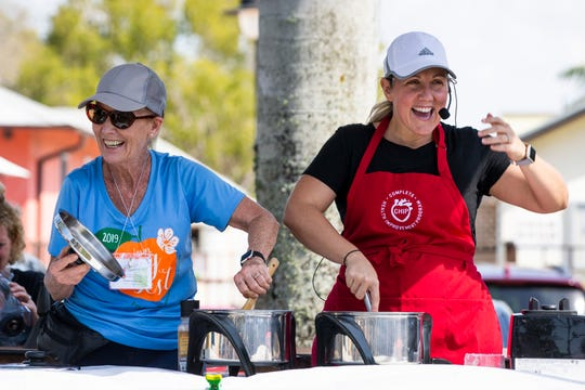 Trish Smith, right, and her mother, Kathy Reynaert, lead a vegan cooking demonstration during the third annual SWFL Veg Fest at Riverside Park in Bonita Springs on Sunday, Feb. 24, 2019. Smith and Reynaert work with CHIP, the Complete Health Improvement Program, and Food For Life to educate people about the food they eat.