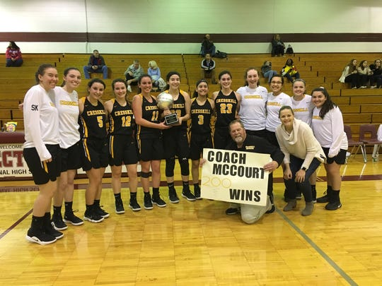 The Cresskill girls basketball team defeated Secaucus, 66-48, on Friday, Feb. 22, 2019 to capture the NJIC Tournament championship and give coach Mike McCourt his 200th career win at Becton Regional High School in East Rutherford.