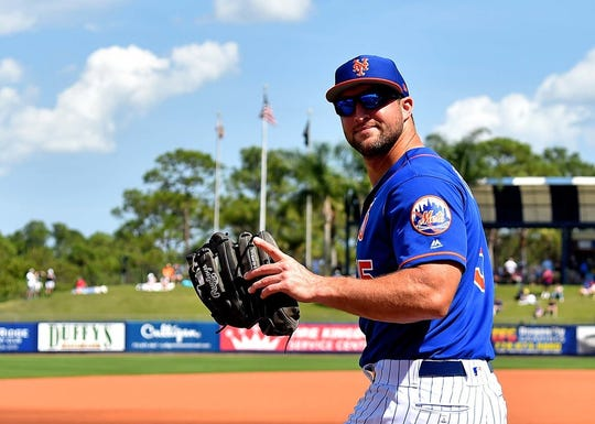 Feb 24, 2019; Port St. Lucie, FL, USA; New York Mets left fielder Tim Tebow (15) prior to a game Houston Astros at First Data Field.