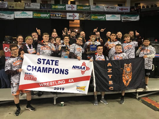 Aztec won the 4A state wrestling championship Saturday at the Santa Ana Star Center in Rio Rancho. Aztec's won back-to-back state titles.