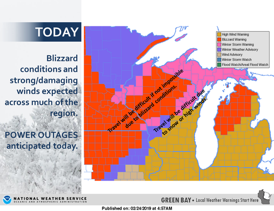 A blizzard warning is in effect for central Wisconsin, while northeast Wisconsin has a high wind warning.