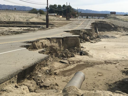 A Feb. 14, 2019 storm destroyed roads, including Avenue 44 was destroyed at the Whitewater Wash in Indio. Several roads remain closed across the desert.