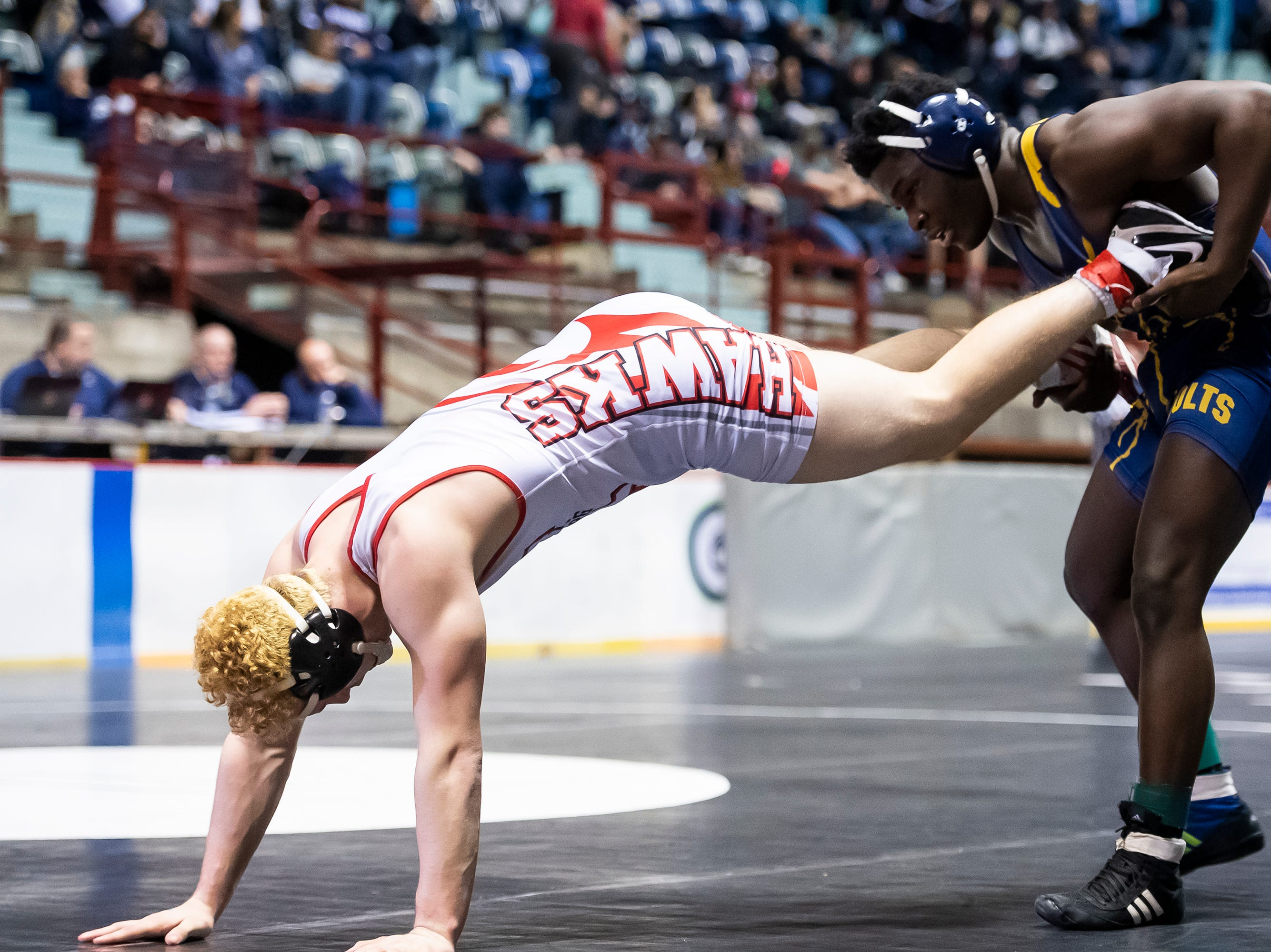 Littlestown's Carl Harris controls Hamburg's Brendan Hamilton during a 170-pound championship bout at the District 3 wrestling championships at Hersheypark Arena Saturday, February 23, 2019. Harris won by decision 7-4.